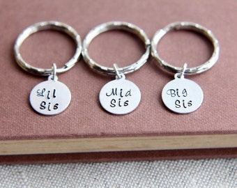 3 Sisters Keychains, Sisters gift, Christmas gifts for sisters, Big Sis Mid Sis Lil Sis Keychain, Big Sister, Middle Sister, Little Sister