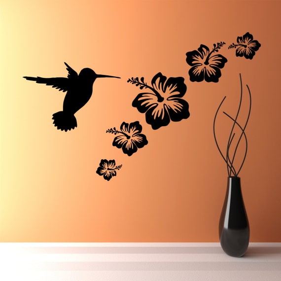 How To Make Wall Decor Stickers : Humming bird flowers set wall art vinyl sticker decals