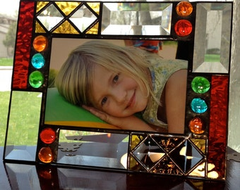Geometric Stained Glass Picture Frame for 4 x 6 photo