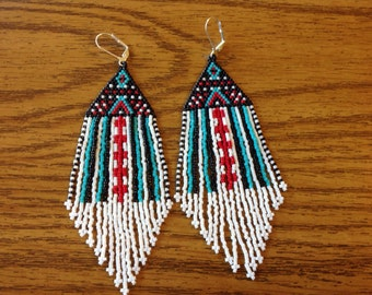 "Large Beaded Dangle Fringed Earrings ""Zanzibar Groove"""