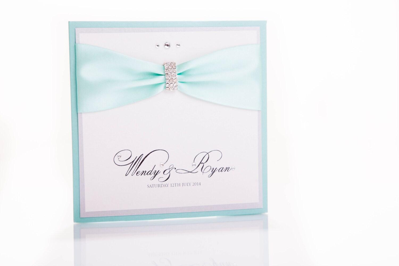 Wedding Invitations Tiffany Blue: Tiffany Blue Pocketfold Wedding Invitation