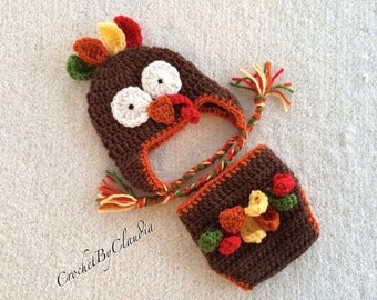 Crochet Boy/Girl Turkey Hat and Diaper Cover Photography Prop/Made to order