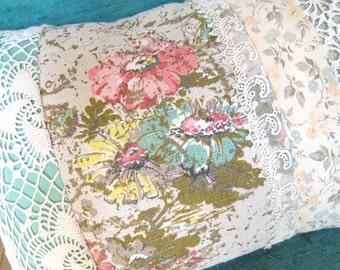 Vintage Lace & Barkcloth Patchwork Pillow