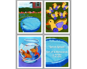 Splish Splash - Set of 6 NOTE CARDS - Childhood Memories - Nostalgia - Collage Art Notecards  (NCSMEM2013020)