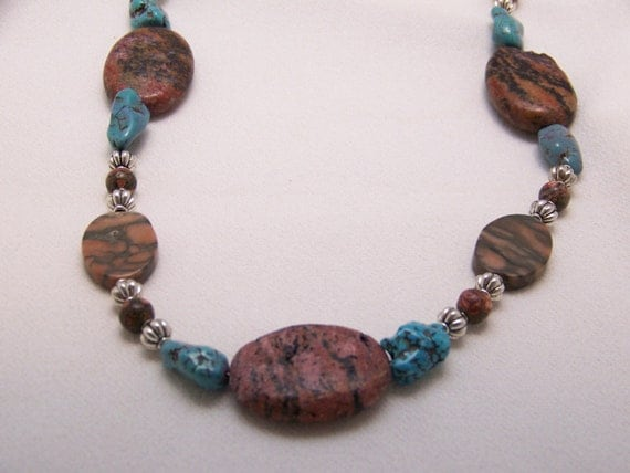 Southwestern Natural Stone Necklace, Rustic jewelry, Western Chunky jewelry, #13