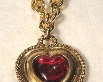 Vintage Red Heart Charm Bracelet