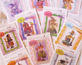 Brooke's Books Witchies SALE Overstock Lot All 10 Stitch-a-Little Witchie-poo Cross Stitch Charts-Only Regularly 60 Dollar Value, Now 30