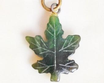 Jade Carved Maple Leaf  Pendant