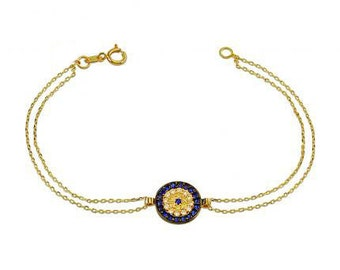 Evil Eye 14k Solid Gold Bracelet