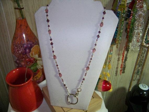 Lanyard - Easy Clip Style, Amethyst Swarovski Crystals, Glass, Silver