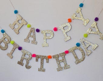 "Glitter HAPPY BIRTHDAY Letter Banner with Pom Poms / Custom Colors Options / 4"" Upper Case Letters"