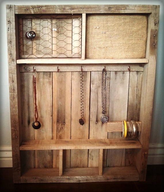Items Similar To Vintage Pallet Wood Jewelry Case Holder