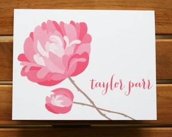 Peony Personal Stationery - Folded Note Card Set with Envelopes