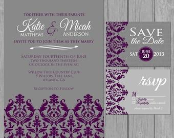 simple wedding invitation, modern, dark purple, damask wedding invitation, engagement party invite, bridal shower, digital, 24 hr proof