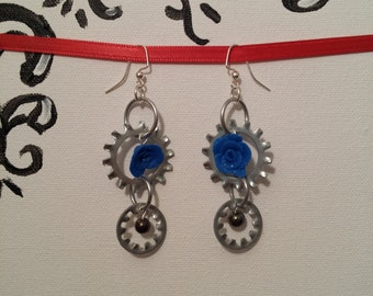 Metal Lock Washers With Blue Rose