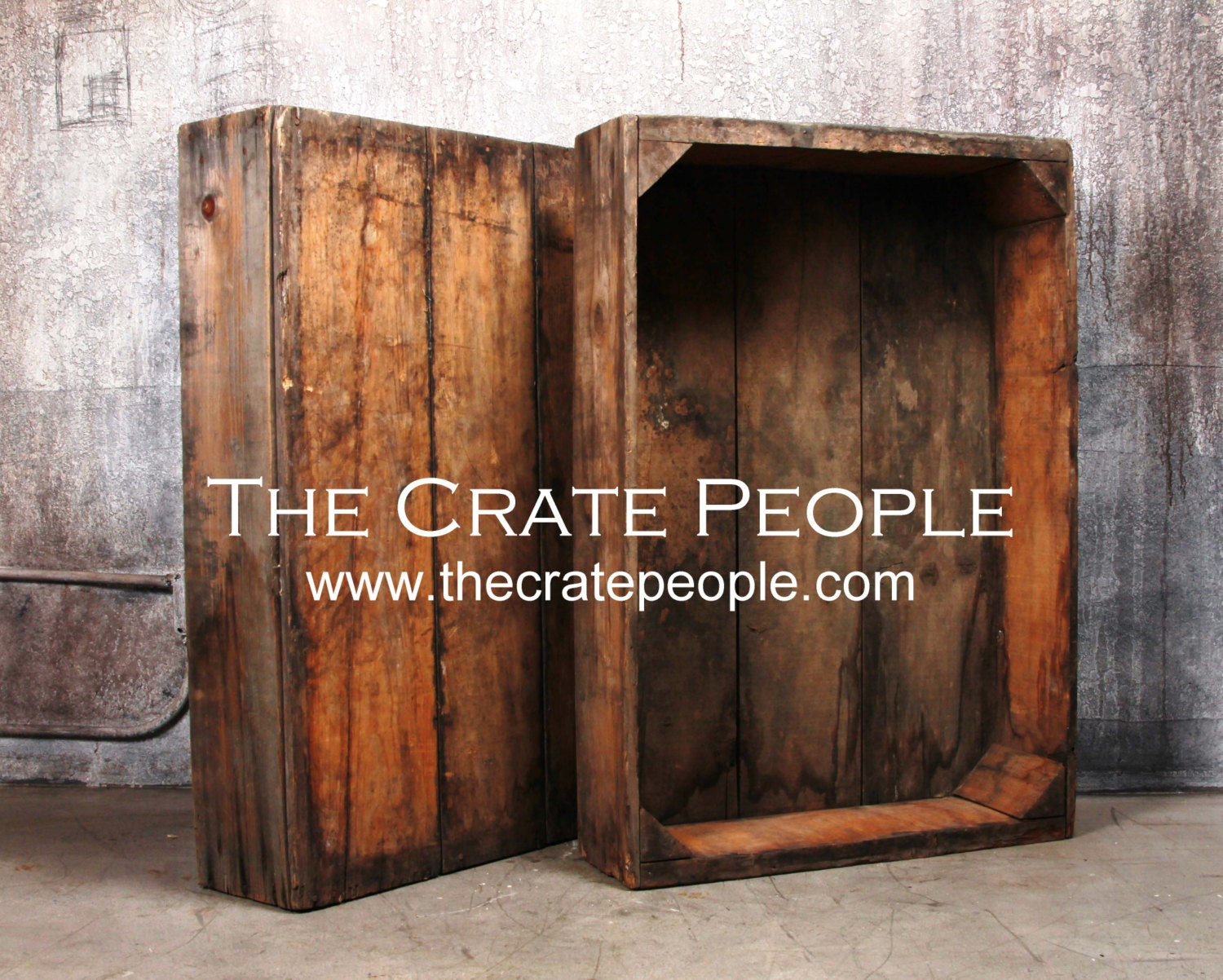 Vintage wood crates large raisin sweat boxes by thecratepeople for Old wooden crates
