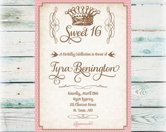 Printable Princess Sweet 16 Birthday Invitation - Girl Birthday Invite - Digital File