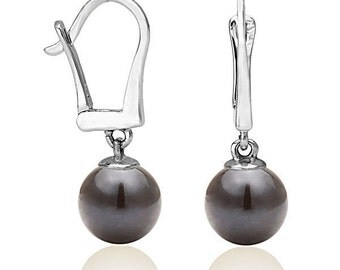 Classic Pearl Dangle Earrings, 14K White Gold Drop Earrings & Single Black Pearl, Bridal Jewelry, Bridesmaid Jewelry, Wedding Jewelry
