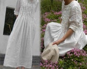 124---Hand Ruching Pintucked Ruffle Maxi White Ivory Linen Tunic Dress, Wedding Dress, Women's Hand Stitching Pleated Maxi Dress.