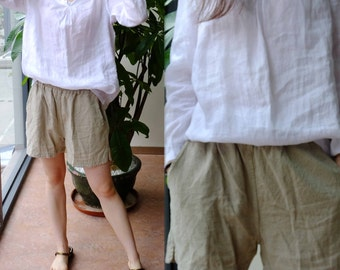 306---High Quality Flax Linen Shorts.