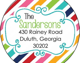 Personalized Address Labels Bright Stripe Custom Sticker Labels Round Labels Gift Labels Party Favor Labels Stickers