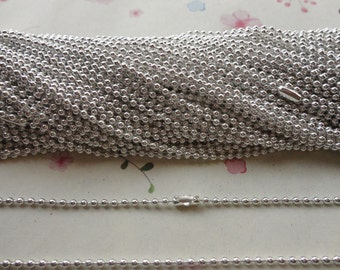 25pcs shiny silver Ball Chain Necklaces with connectors.. 20 inch Chain 2.0 mm wholesale--MN146