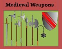 Clip Art Digital File, 'Medieval Weapons'