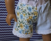 American Girl Doll Denim Shorts with Floral Panel and Lace Trim RESERVED FOR JESSICA
