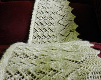 "Pattern to Knit Lace Scarf  ""Long Leaves"" PDF"