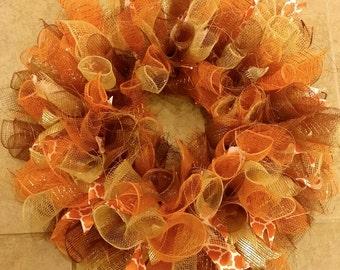 Fall Deco Mesh Wreath 22 inch, Autumn Wreath, Thanksgiving Decoration, Curly Deco Mesh Wreath, Thanksgiving Wreath, Fall Wreath
