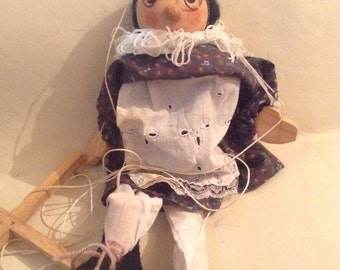 Vintage Wooden String Puppet, Marionette, Retro Toys, Old Lady, Hand Painted