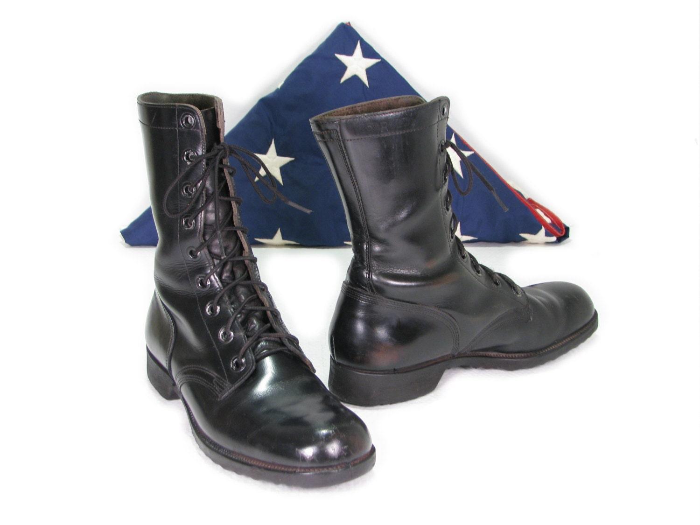 black leather combat boots vintage combat boots war