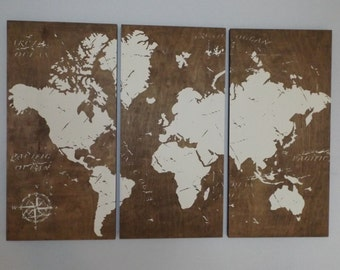 Vintage WORLD MAP!!  Screen Print Wood Painting Wall Art on Stained Solid BIRCH 3/4 inch thick  Gift for Him / Her