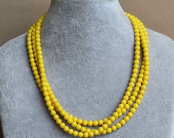 yellow Pearl Necklace ,3 Strands Necklace,Wedding Necklace,yellow glass pearl necklaces.Pearl Jewelry,Bridesmaid Jewelry,Wedding Party