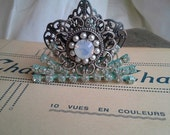 Elegant Tiny Tiara, Rhinestones, Seed Pearls, Verdigris, Shabby, Cottage, Romantic, Queen, Crown, Wedding, Princess, Bride