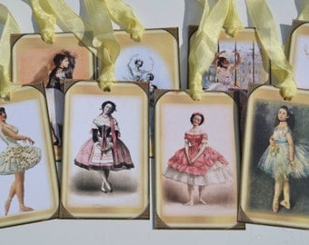 Ballerina Tags Le Cirque Style Set of 8, Yellow Vintage Ballerina Tags, Vintage Dancer Favor Tags