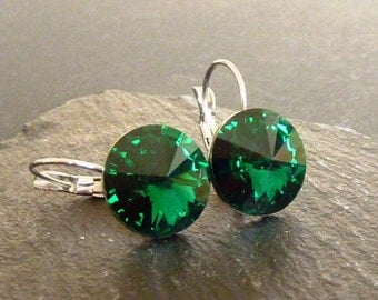 14mm Rivoli Emerald Leverback Earrings made with Swarovski Crystal Element