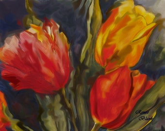"""This is a print of my original  watercolor painting titled """" Spring Fever """"  Available 5 x 7, 8 x 10, 11 x 14, notecards"""