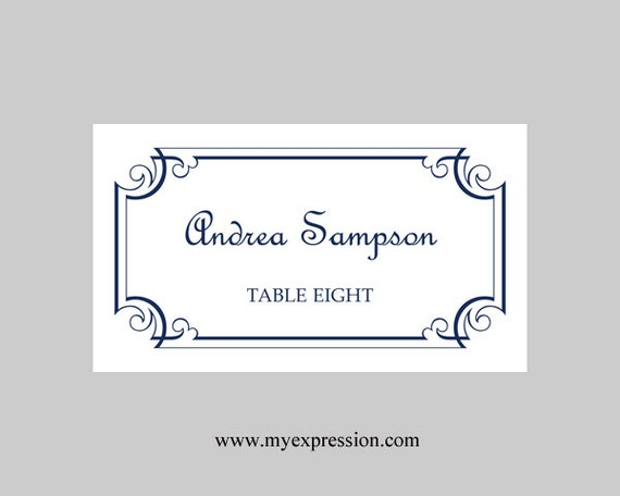 wedding place cards template navy blue ornate frame instant