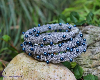 DIY Crochet Bracelet from Coated Steel Wire with Beads Tutorial by GunaDesign