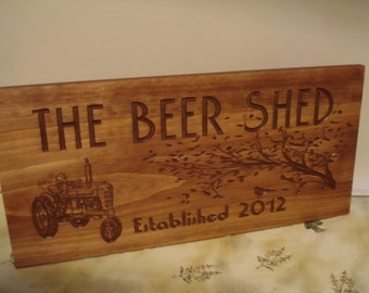 Beer Sign, Wooden Carved Sign, Tractor,  Mancave signs,  Micro Brew, Pub Sign, Personalized Bar Sign, Outdoor carved Sign, Benchmark Signs