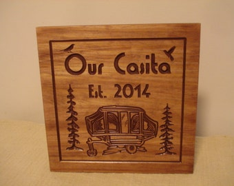 Custom Pop-up Camper RV Trailer Park Wooden Carved Signs Family Address Plaque humming bird Wooden Our Casita Wall Art Camp Benchmark Signs