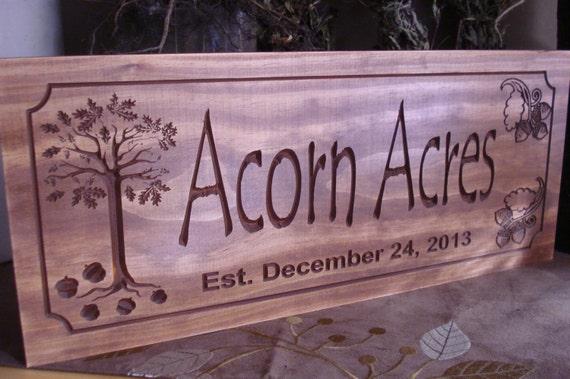 Oak Wood Signs ~ Rustic cabin welcome signs oak tree with acorns primitive wood