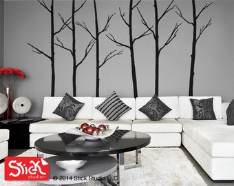 Tree Wall Decal, Forest Trees Wall Sticker, Tree decal, Wall Decal, Living Room Decal, Kids Wall Art, Winter Trees Decal