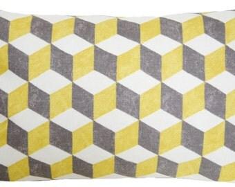 Geometric Yellow Cushion Cover Contemporary Pillow Throw Case Fabric Osborne & Little Cotton Printed Textile Balyan CubesRectangle