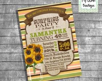 Sunflower Birthday party invitation sunflowers invite fall autumn 21th 30th 40th 50th digital printable invitation you print invite 13246
