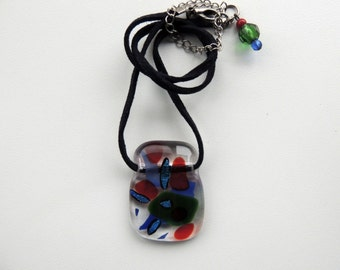 fused glass necklace,red blue glass pendant necklace, green blue red fused necklace, dichroic fused necklace, dichroic fused glass pendnat