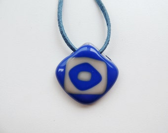 Rhombus blue white fused glass necklace,blue white glass pendant necklace,glass jewelry,