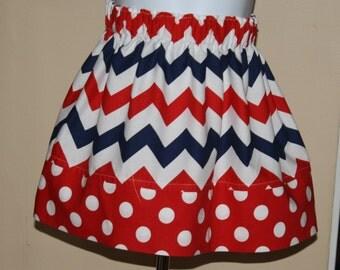 red, white, blue chevron, twirl skirt,  pillowcase dress  polka dots baby infant toddler dresses patriotic