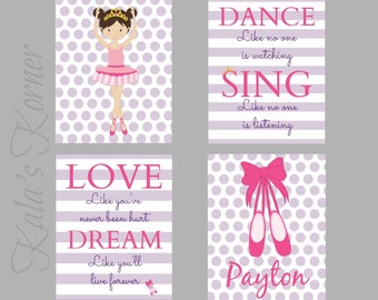 BALLERINA NURSERY ART - girls nursery, Ballerina nursery decor, ballerina playroom, children wall art